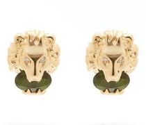 Lion Crystal-embellished 18kt-gold Stud Earrings