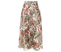 Sonia Pleated Floral-print Taffeta Midi Skirt