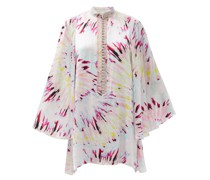 Tie Dye-print Satin Mini Dress