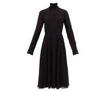 High-neck Gathered Crepe Dress