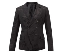 Double-breasted Floral-jacquard Suit Jacket