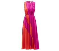 Cora Gathered Silk-charmeuse Midi Dress