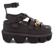 Chaim-trimmed Flatform Leather Sandals