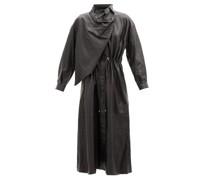 Sitter Draped Leather Midi Dress