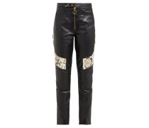 Panelled Leather Biker Trousers