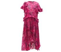 Isamu Asymmetric Floral-devoré Satin Dress