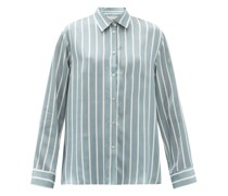London Striped Sandwashed-silk Pyjama Top