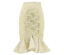 Peplum-hem Metallic-tweed Skirt