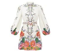 Lovestruck Balloon-sleeve Floral-print Linen Dress