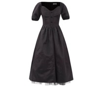 Minnie V-neck Tulle-lined Moiré Dress