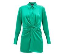 Matsu Ruched-front Silk Shirt Dress