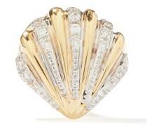 Shell Diamond & 18kt Gold Single Earring