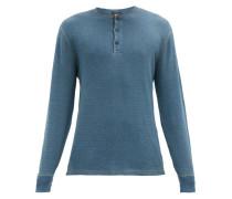 Cotton-mesh Henley Shirt