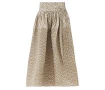 Toga Floral-print Cotton Midi Skirt