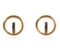 Saturn Enamel & 18kt Gold-vermeil Hoop Earrings