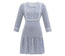 Pintucked Geometric-print Recycled-fibre Dress