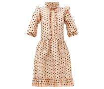 Claudette Ruffled Polka-dot Silk Dress