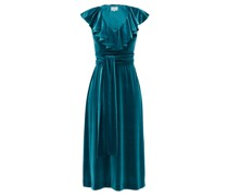 Tie-waist Ruffled Velvet Midi Dress