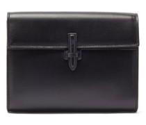 Slip-tab Leather Clutch Bag