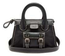 Edith Small Topstitched Leather Shoulder Bag