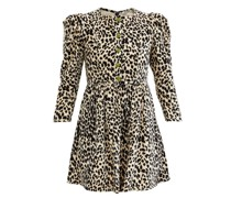 Crystal-button Leopard-print Velvet Mini Dress
