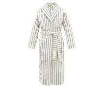 Striped Hooded Organic-cotton Terry Bathrobe