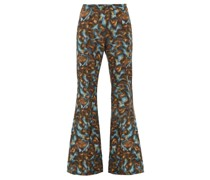 Abstract-print Twill Slim-leg Flared Trousers