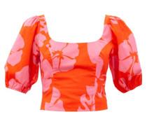 Papaya Hibiscus-print Cotton-blend Poplin Top