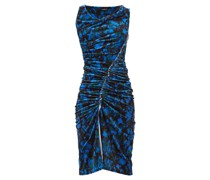 Asymmetric Camouflage-print Velvet Dress