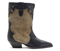 Duoni Western Leather And Suede Ankle Boots