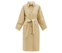 Press-stud Belted Cotton-blend Raincoat