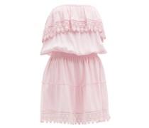 Joy Tiered Lace-trim Poplin Mini Dress