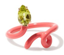 Baby Vine Tendril Peridot, 9kt Gold & Enamel Ring