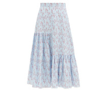 Gaura Spot Fil-coupé Striped Twill Midi Skirt