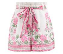 Paperbag-waist Floral-print Cotton Shorts