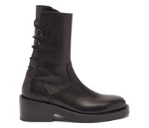 Back Lace-up Leather Ankle Boots