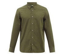 Curved-hem Cotton-poplin Shirt