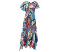 Cape-sleeve Floral-print Silk Midi Dress
