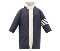 Four-bar Hooded Nylon And Cotton-blend Down Coat