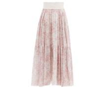 Floral-print Silk-georgette Skirt