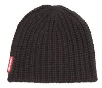 Rib-knitted Beanie Hat