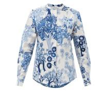Tree-print Cotton-poplin Shirt