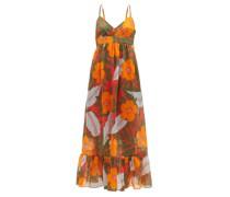 Oleander Hibiscus-print Ramie Maxi Dress