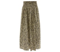 Ruched Floral-print Organic-cotton Maxi Skirt