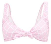 Lurin Tie-front Diamond-print Bikini Top