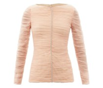 Vienna Crystal-embellished Pleated-tulle Top