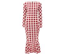Gingham-print Fluted Jersey Midi Dress