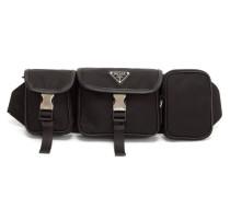 Logo-plaque Leather-trimmed Nylon Belt Bag