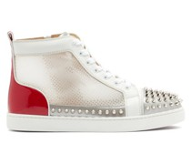 Donna Studded Leather And Mesh High-top Trainers