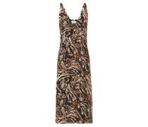 Bust-cup Marbled Animal-print Silk Slip Dress
